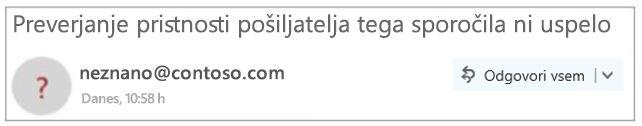 Pošiljatelj brez preverjene pristnosti v Outlooku