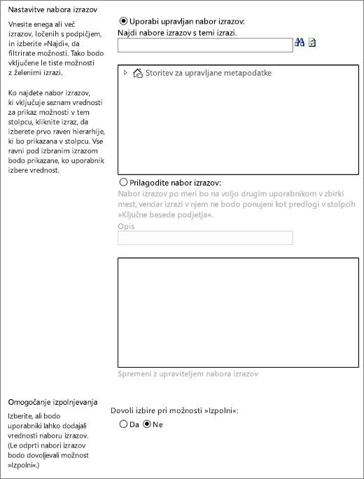Možnosti za stolpec upravljanih metapodatkov