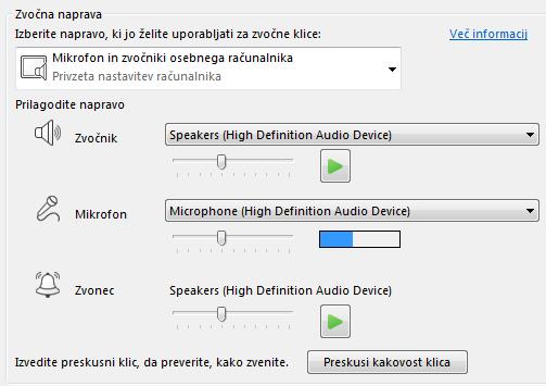 Posnetek zaslona izbirnega polja zvočne naprave, kjer lahko nastavite kakovost zvoka