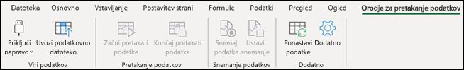 Zavihek na traku tok podatkov Excelu