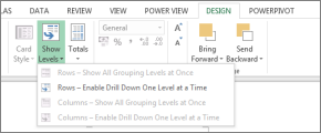 Ravni prikaza informacij funkcije Power View