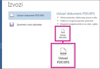 Gumb »Ustvari PDF/XPS« na zavihku »Izvoz« v programu Word 2016.
