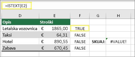 Celica F2 s funkcijo =ISTEXT(E2) in rezultatom TRUE