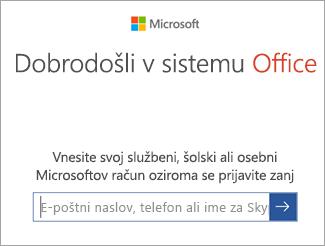 Vnesite e-poštni naslov Microsoftovega računa ali računa za Office 365
