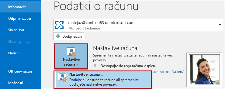 Nastavitve računa v Outlooku