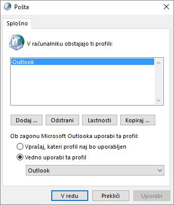List z lastnostmi pošte, na katerem dodate ali odstranite profil za Outlookov račun