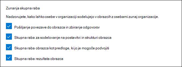 Nastavitev skrbnika Microsoft Forms za zunanjo skupno rabo