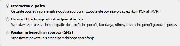 Izbira storitve za nov račun v programu Outlook 2010