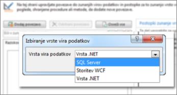 Posnetek zaslona pogovornega okna »Dodaj povezavo«, v katerem izberete vrsto podatkovnega vira. Tukaj je prikazana vrsta »SQL Server«, ki omogoča povezavo s zbirko podatkov SQL Azure.