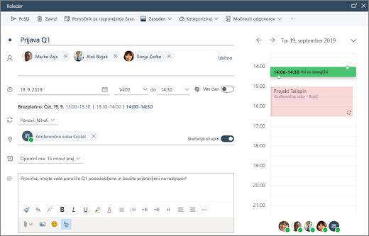 Načrtovanje srečanja v Outlooku v spletu