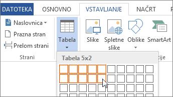 Vstavljanje mreže tabele.