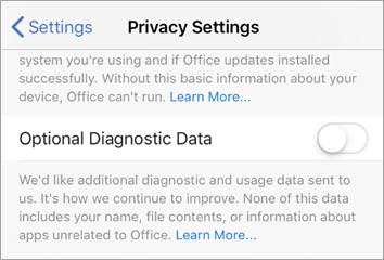 Posnetek zaslona izbirne funkcije za preklop diagnostičnih podatkov