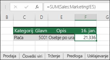 Formula sklica »3D-list« v Excelu