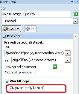 Pogovorno okno z možnostmi funkcije za prevajanje