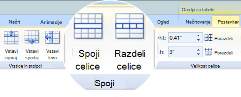 Spajanje ali razdelitev celic tabele