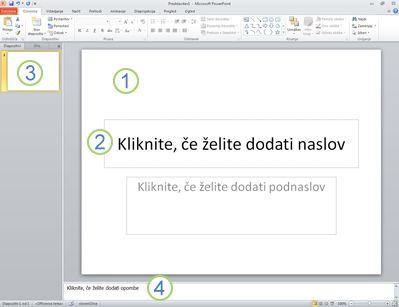 Delovni prostor ali navadni pogled v programu PowerPoint 2010 s štirimi označenimi področji.