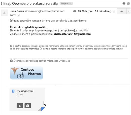 Odprite prilogo »message.html«