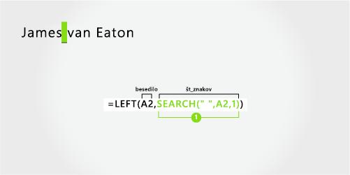 Formula za ločevanje imena in dvodelnega priimka