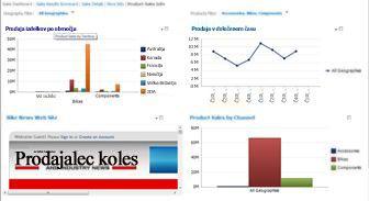 Nadzorna plošča PerformancePoint z 2 uporabljenima filtroma