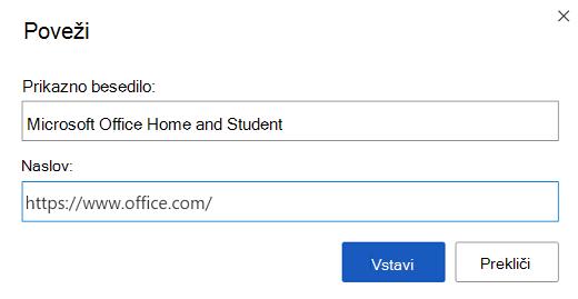 Pogovorno okno za vstavljanje povezave v Wordu za splet.