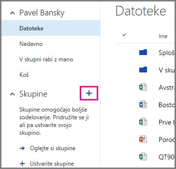 Posnetek zaslona ustvarjanja skupine v storitvi OneDrive za podjetja s klikom znaka plus