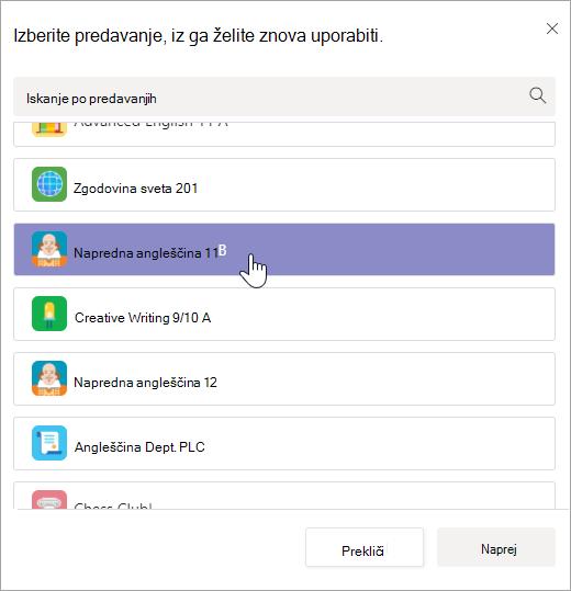 Izberite razred, ki ga želite znova uporabiti.