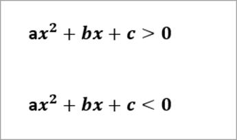 Example equations read: ax^2 +bx+c>0, ax^2+bx+c <0