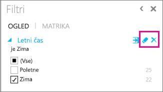 Ikone za brisanje območja filtra funkcije Power View