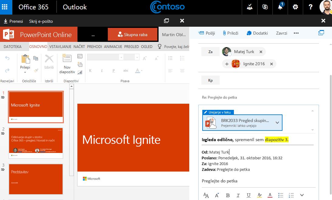 Posnetek zaslona z e-poštnimi prilogami