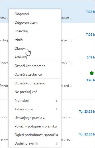 Posnetek zaslona prikazuje možnost obnovi izbrano, ko je e-poštno sporočilo v mapo »Izbrisano« izbran.