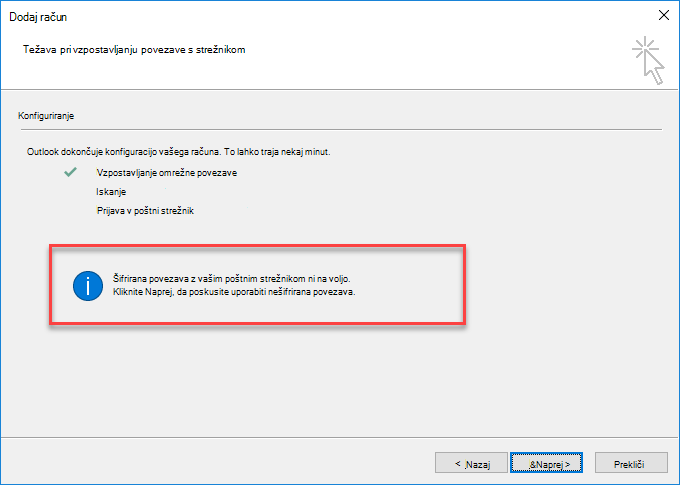 Napaka v zvezi s šifrirano povezavo v Outlooku