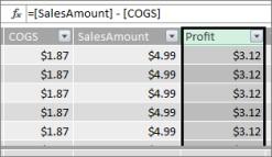 Profit Column in Power Pivot table