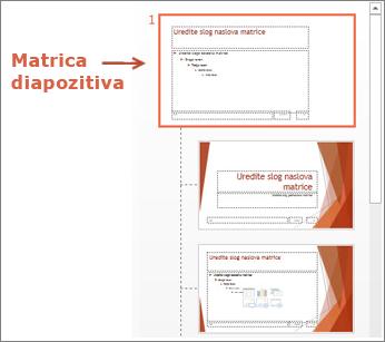 Izberite matrico diapozitiva