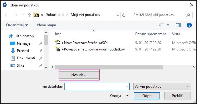 Vir podatkov za spajanje dokumentov
