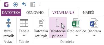Vstavljanje datoteke v zapiske v obliki priloge