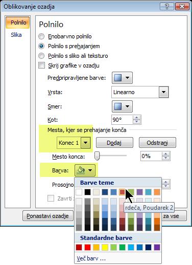 Če želite uporabiti barvno shemo preliva po meri, izberite ustavitev preliva, nato pa izberite barvo.