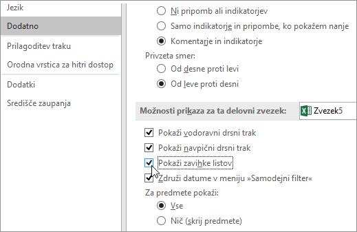Prikaz zavihkov listov v Excelovih možnostih