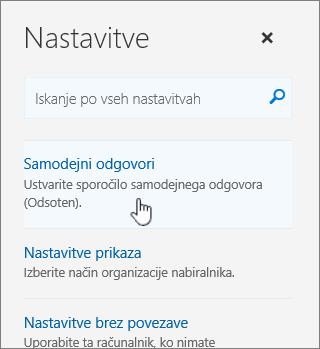 Posnetek zaslona pomoči z izbranim samodejnim odgovorom.