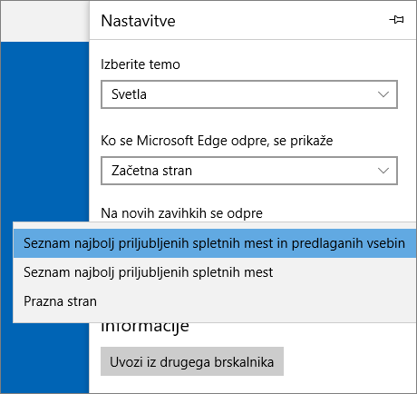 Nastavitve brskalnika Edge za prikaz zavihka »Moj Office 365«