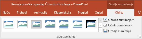 Prikazuje različne sloge in učinke zumiranja, ki jih lahko izberete na zavihku »Oblika« v PowerPointu.