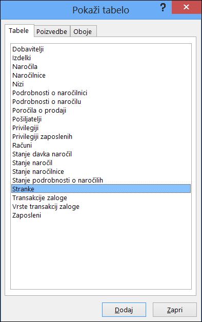 Prikaže pogovorno okno »Tabela« v Accessu, kjer so prikazana imena tabel