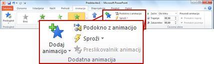 Skupina »Napredne animacije« na zavihku »Animacije« na traku PowerPointa 2010.