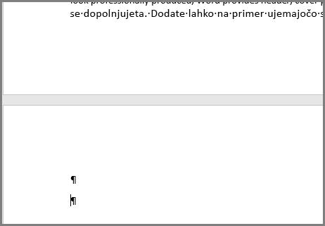 Prazni odstavki na vrhu strani v Wordu