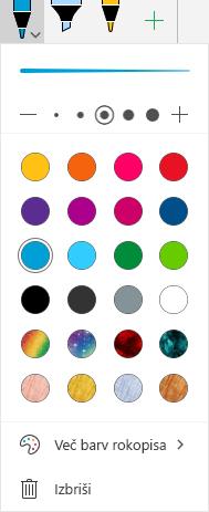 Barve rokopisa in učinki za risanje s črnilom v Officeu v sistemu Windows Mobile