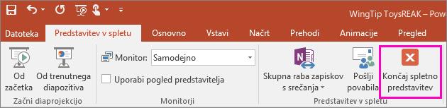 Prikaže gumb »Končaj spletno predstavitev v PowerPointu.