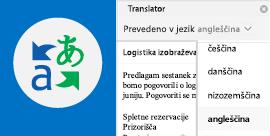 Branje Outlookovih e-poštnih sporočil v izbranem jeziku