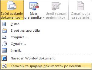 Na zavihku »Pošiljanje« v Wordu izberite možnost »Začni spajanje dokumentov« in nato izberite čarovnika za spajanje dokumentov po korakih.