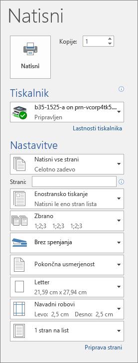 Posnetek zaslona podokna »Natisni« z različnimi nastavitvami tiskanja, kot je število kopij.