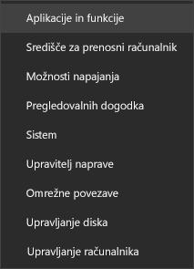 Posnetek zaslona menija »Start«, ki prikazuje možnost »Programi in funkcije«