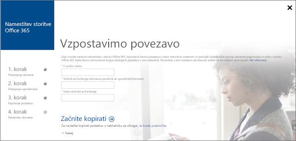 Vnesite podatke o računu za vzpostavitev povezave s strežnikom Exchange.